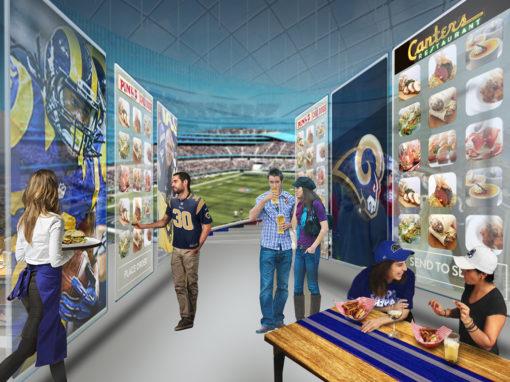 Future Concessions Concept Design for Hospitality Sports Stadium