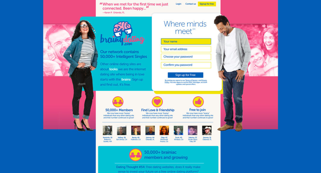 Dating Website for Intellectuals – Concept Design – Brainydating.com