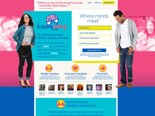 Dating Website for Intellectuals – Concept Design – Brainydating.com