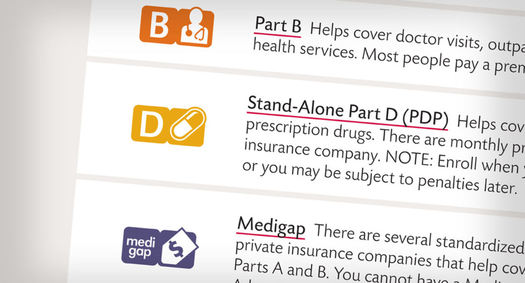 Healthcare Medicare Icons in Brochure