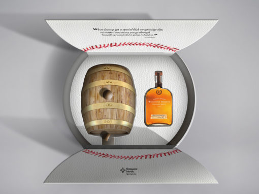 Baseball Homeplate Packaging Design for Bourbon Barrel Gift