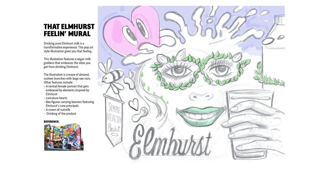 Mural Sketch Design for Almond Milk Brand