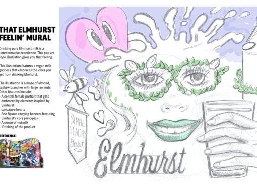 Mural Sketch Design for Almond Milk Brand