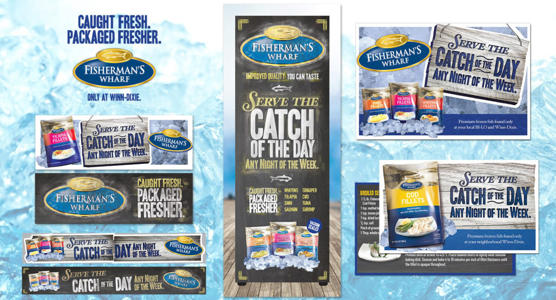 Seafood In-Store Point of Sale Display in Freezer Aisle