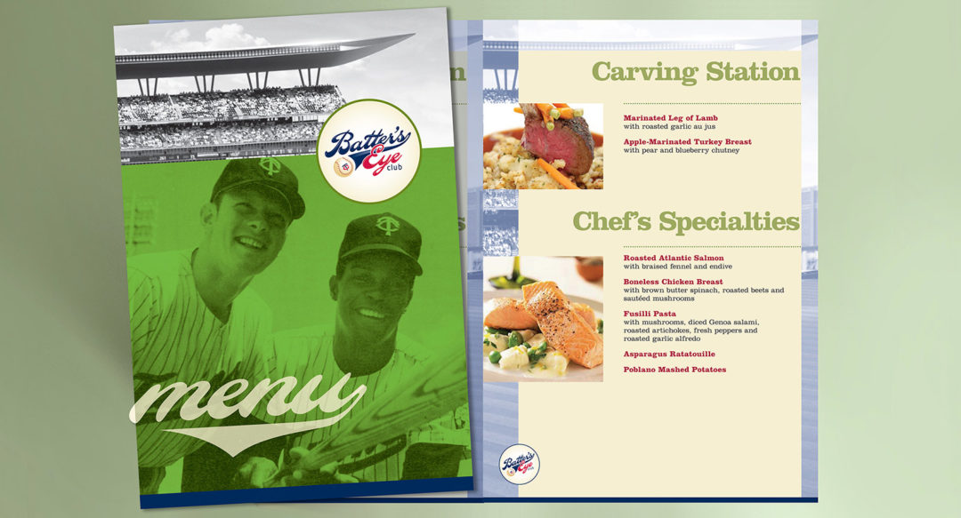 Baseball Club Suites Menu Design