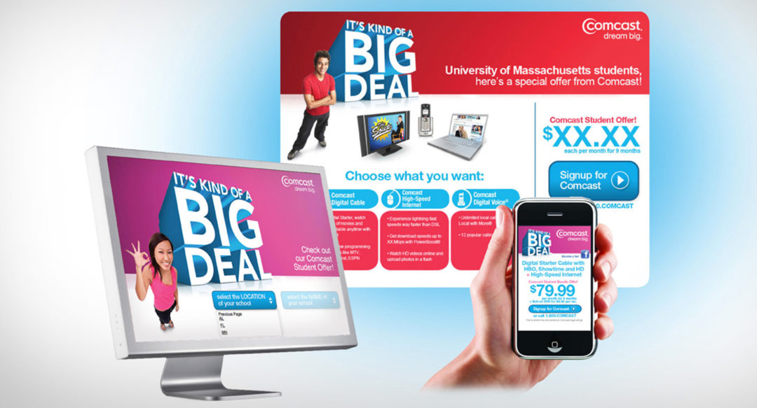 Cable Promotional Responsive Design – Comcast College Marketing