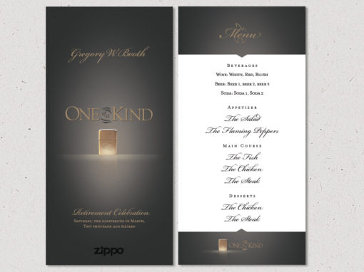CEO Retirement Party Menu Design