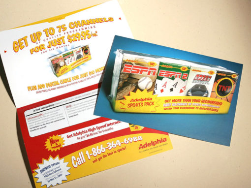 Cereal Box Theme Direct Mail for Cable Company