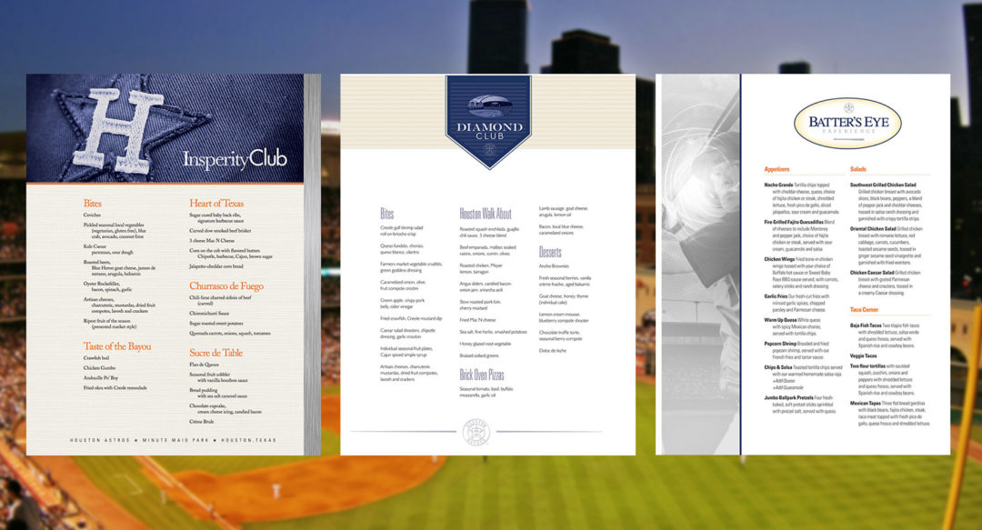 Sports Club Luxury Suites Menu Design Baseball