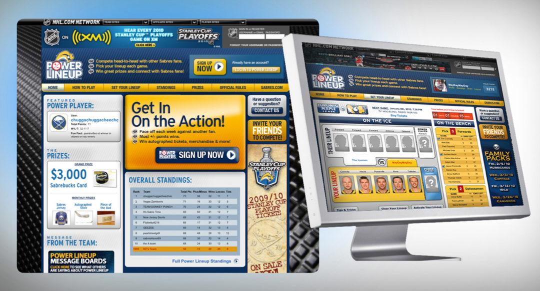 Sports Fantasy Game Website Design – Sabres Power Lineup