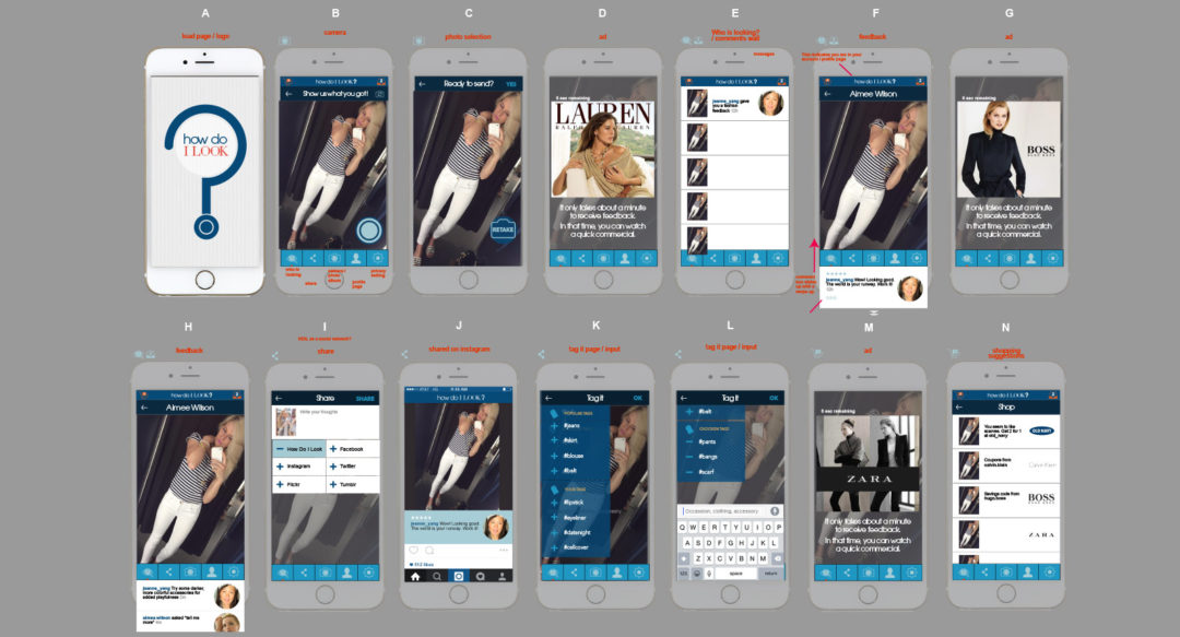 """User Interface and experience for concept fashion app """"How Do I Look?"""""""