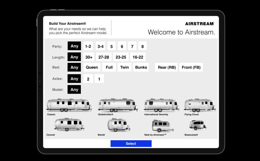 Travel Trailer Builder App Design